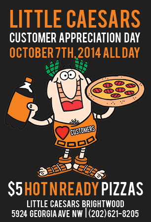 Customer Appreciation Day Pizza DC Brightwood Takeout